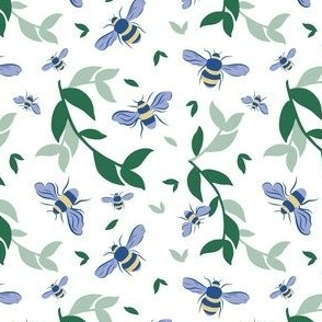Bees & Leaves // Blueberry on White