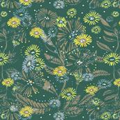 Daisy Dance Botanical Indoor Garden, Mint, Sky Blue, Mushroom, Yellow - Petal Solid Co-ordinate