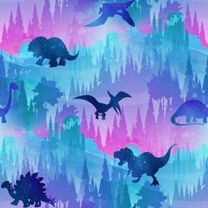 Dinosaur forest blue pink