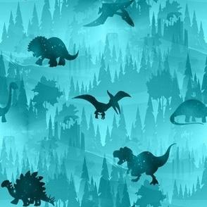 Dinosaur forest blue