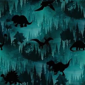 Dinosaur forest spooky dark