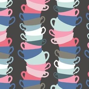 Teacup Stacks on Charcoal