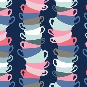 Teacup Stacks on Navy