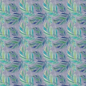 Palm Leaves Tropical Pattern on Blue