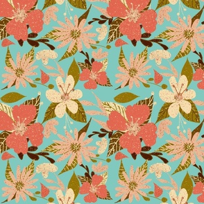 Tropical Floral Print in Coral and Aqua