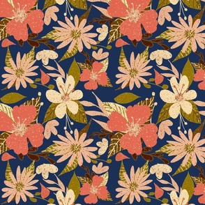Tropical Floral Print in  Coral Navy