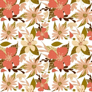 Tropical Floral Print on White