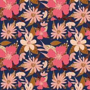 Tropical Floral Print Pink and Navy