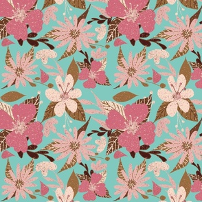 Tropical Floral Print Hibiscus Pink and Seafoam