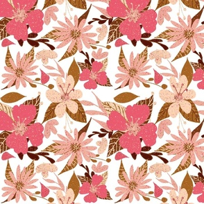 Tropical Floral Print Hibiscus Pink White