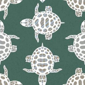 Calming turtles on pine green