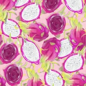 A Lush Dragon Fruit Jungle - on pink canvas