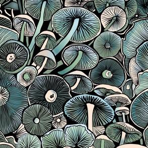 Blue Mushrooms- large