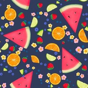 Summer Fruit on Navy