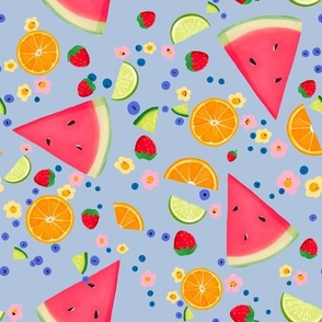 Summer Fruit on Periwinkle