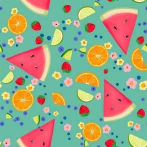 Summer Fruit on Teal