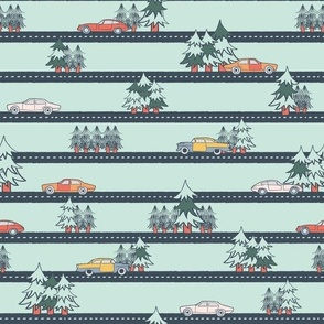 (small scale) old cars on the forest road