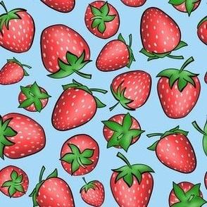 Blue Strawberries Ditsy Pattern