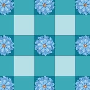 Gingham blue floral texture