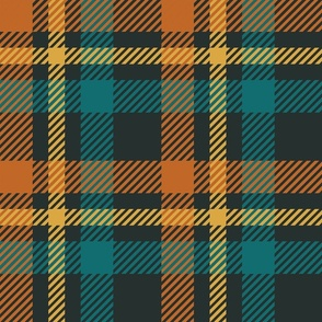 Tartan Brown, Ocean Blue and Gold on a dark background Larger