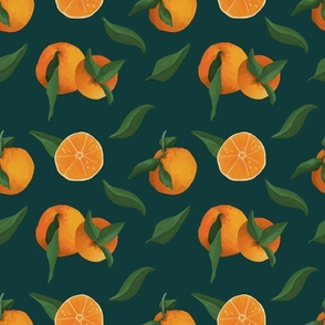 Dark green and  painted oranges