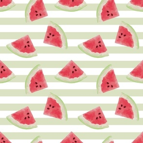 Watermelon and light green stripes