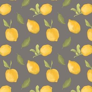 Modern dark gray design with yellow painted lemons