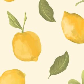 Large lemons on cream