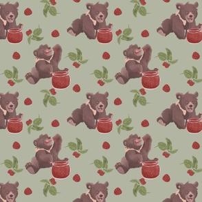 Bears eating raspberry jam - red and green