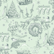 Holiday Traditions Toile Pine on Green