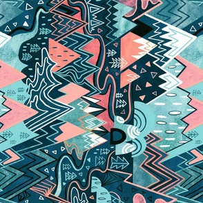 Rotated - Maximalist Mountain Maze - Pastel Pink & Aqua - Large Scale