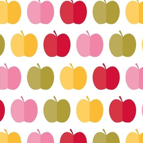 Colorful apples on white