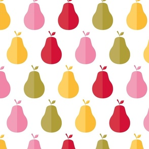 Colorful pears on white