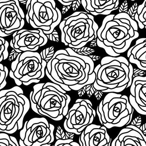 Doodle Roses Garden in Black and White
