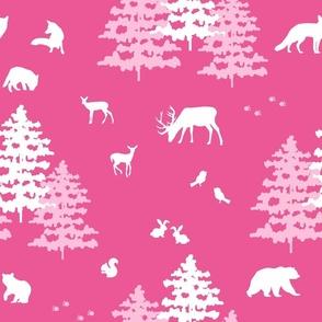 Christmas Pink Woodland
