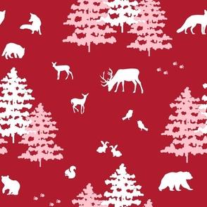 Red Christmas Woodland