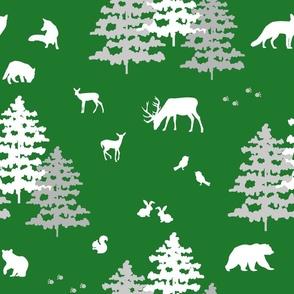 Christmas Green Woodland