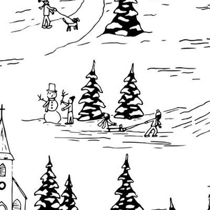 winter fun holiday toile - black - regular scale