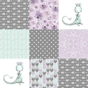 Little & Fierce Dragon//Lavender&Mint - Wholecloth Cheater Quilt