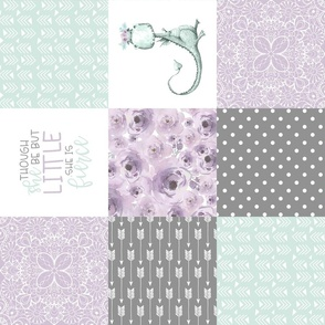 Little & Fierce Dragon//Lavender&Mint - Wholecloth Cheater Quilt  - Rotated