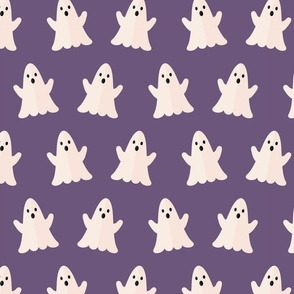 Halloween ghosts on purple