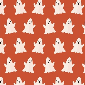 Halloween ghosts on red