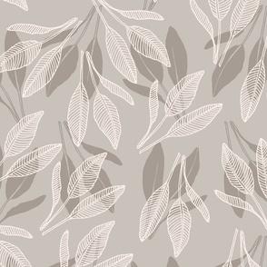 leaves with stripes warm grey beige