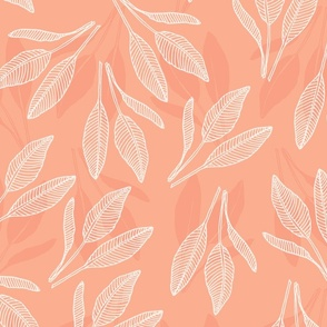 leaves with stripes  peach