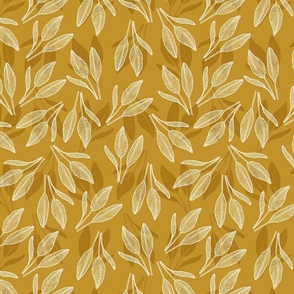 leaves with stripes mustard