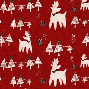 Holiday Deer Dark Red