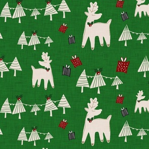 Holiday Deer Forest Green