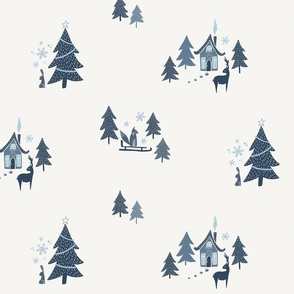 Winter Woodland Holiday Toile - blue and cream - medium