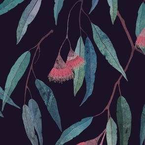 eucalyptus leaves with pink flowers on violet