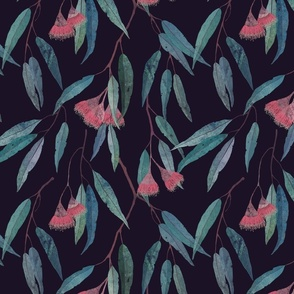eucalyptus with pink flowers on violet /scale/